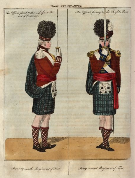 Two officers of the Highland Infantry with their swords. On the left is a member of the 76th Regiment of Foot, in the act of fronting; on the right is a member of the 42nd Regiment of Foot, facing to the right about