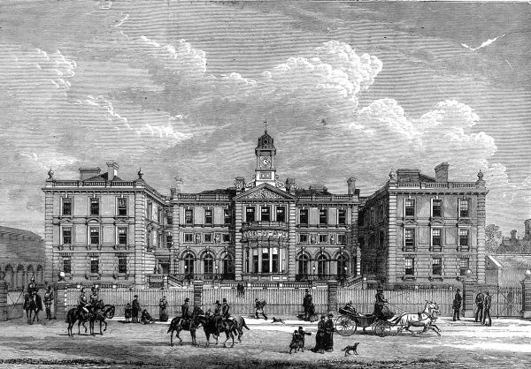 Engraving showing the exterior of the then newly built Officers Quarters, for the Household Cavalry, in Knightsbridge, London, 1880