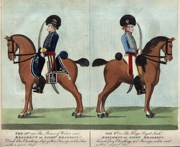 An officer of the Tenth or the Prince of Wales Regiment of Light Dragoons (left) and an officer of the Eighth or King's Royal Irish Regiment of Light Dragoons. Both are mounted on horseback and carrying swords