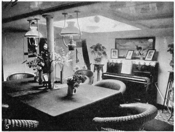Photograph showing the Officers Saloon on board the 'Fram'; the ship used by Fridtjof Nansen to go to the Arctic and by Roald Amundsen to go to the Antarctic