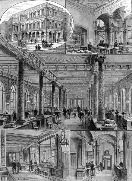 Engraving showing a number of views of the, then new, offices of the Atlas Assurance Company in Cheapside, London, 1894