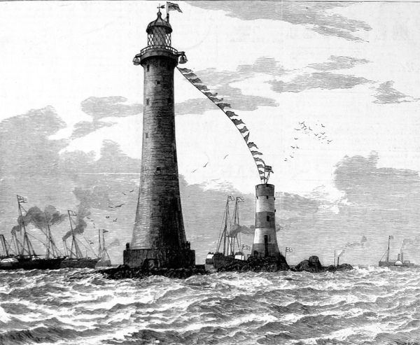 Engraving of the opening of the new Eddystone Lighthouse by the Duke of Edinburgh