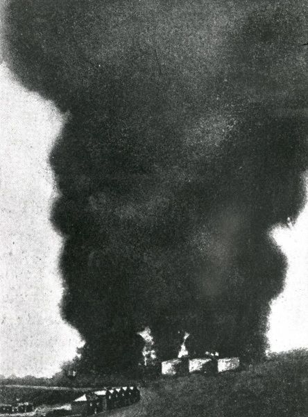 An oil well burning in Romania, having been set ablaze by the British during the First World War. Date: circa 1916-1917