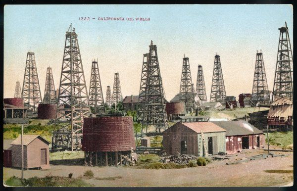 A landscape of wells in the California oil field