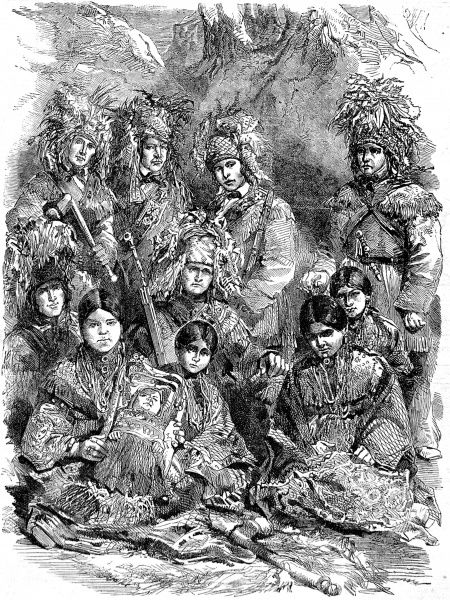 Engraving showing a family group of Indians who visited England from the Walpole Islands, Lake Huron, Canada