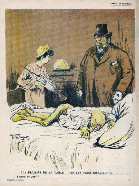 A decrepit old man lies on a bed: he is about to be given an enema
