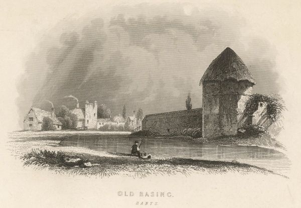 A scene of Old Basing, Hampshire, with a fisherman in the foreground