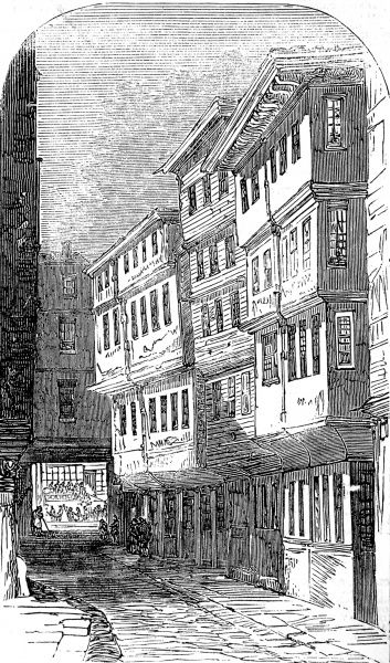 Engraving showing old chambers, of the London legal profession, in Middle Temple Lane, London, 1857