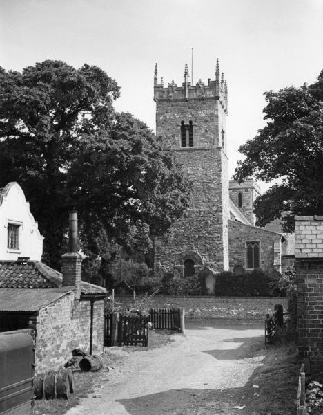 The fine old Saxo - Norman church at Old Clee, near Cleethorpes, Lincolnshire, England. Date: 1960s photo