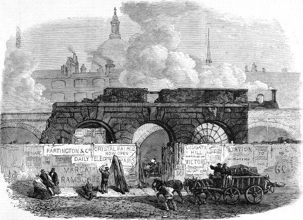 Engraving showing the last remains of Old Fleet Prison, comprising a facade of three archways, London, 1868