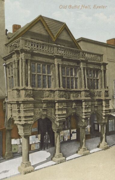 Old Guild Hall, High Street, Exeter, Devon. The elaborate frontage pictured here was added in the 1590s. Date: circa 1910s