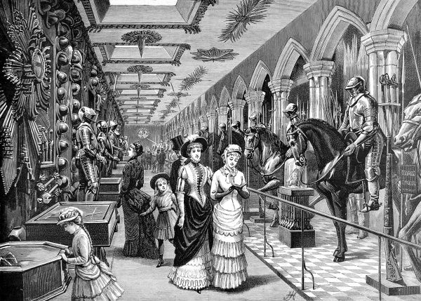Engraving showing several visitors admiring the Old Horse Armoury in the Tower of London, c.1885