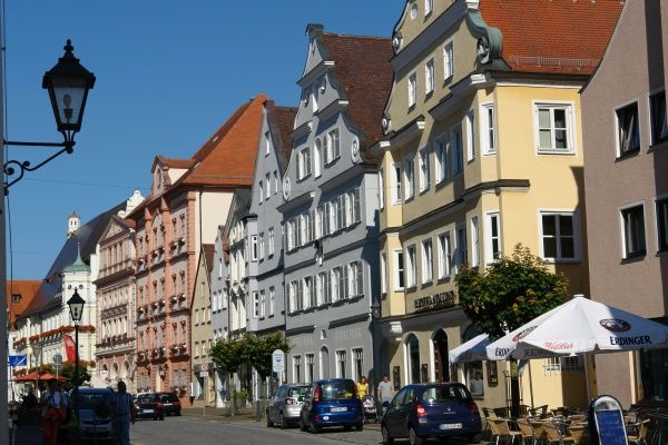 A row of picturesque old houses in Koenigstrasse, the main street of Dillingen an der Donau, Bavaria, Germany