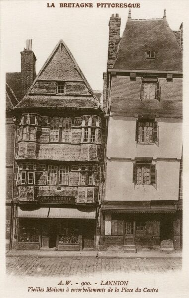 Old Houses in the Central Square at Lannion, Brittany, France - displaying cantilever upper flooers, projecting out from the lower levels of a building