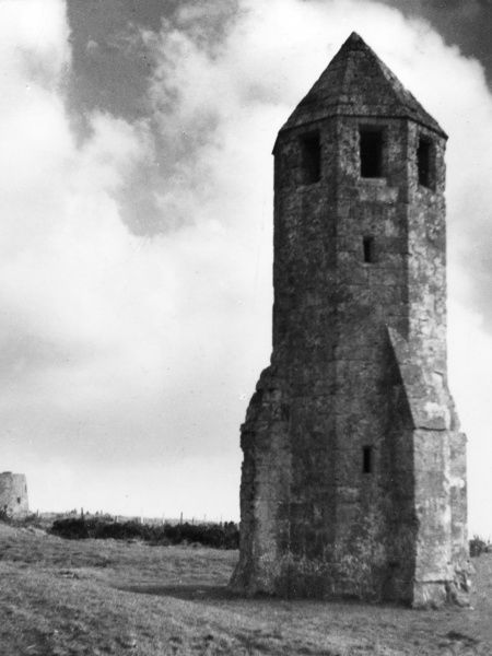 The Old Lantern Tower, St. Catherine's Hill, Isle of Wight, Hampshire, England. It is a consecrated building, formerly used as a beacon for sailors. Date: 14th century