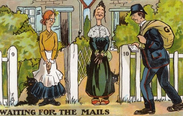 Two unmarried women of a certain age, waiting to see what the postman has for them - could it be Valentine's Day? Date: circa 1910
