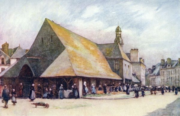 The old market hall of Auray, Brittany. Date: 1906