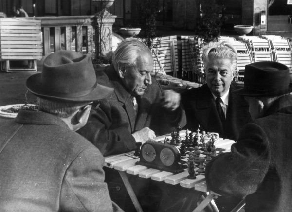 Old men enjoying a game of chess on the Danube Promenade, Budapest, Hungary. Date: 1930s