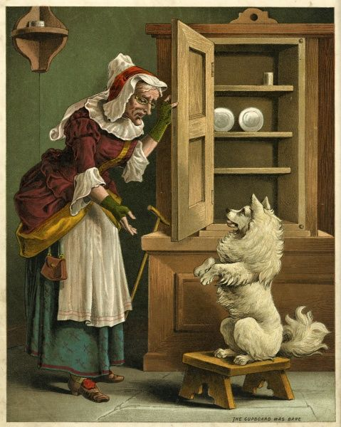 Old mother hubbard went to the cupboard to get her poor dog a bone, but when she came there the cupboard was bare, and so the poor dog had none. Date