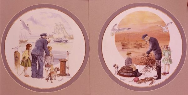 Two circular watercolour paintings by Malcolm Greensmith depicting and old sailor with his grandchildren