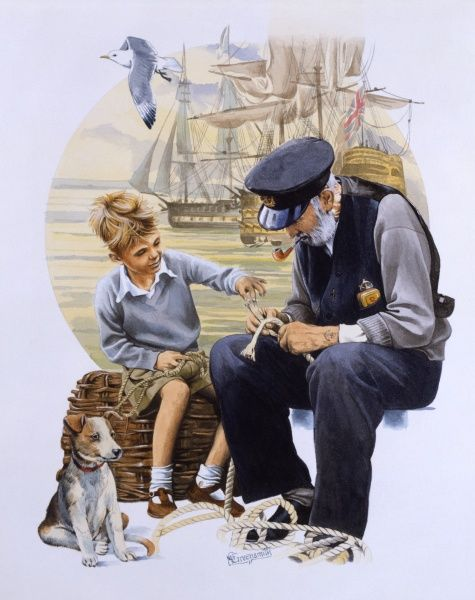 An elderly sailor teaches a young lad how to tie some nautical knots. Watercolour painting by Malcolm Greensmith