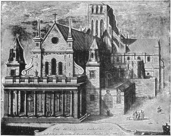 Illustration showing the old St. Paul's Cathedral, London, prior to its destruction in the Great Fire of London in 1666