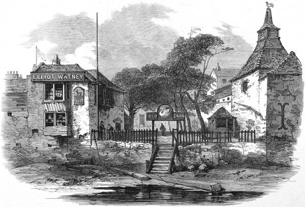Engraving showing the Old Swan Inn, Chelsea, London, seen from the River Thames in 1873