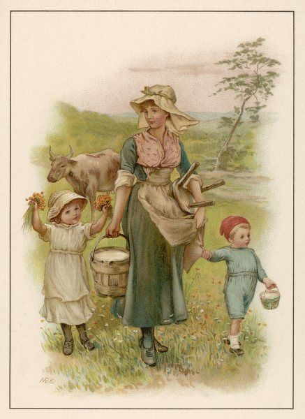 An old-time milking-maid with two small children