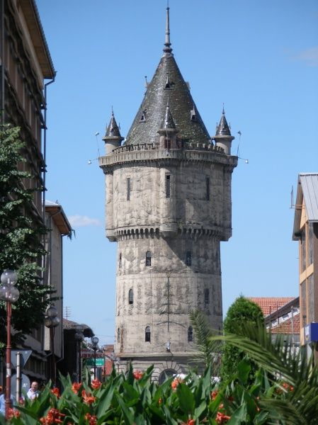 View of an old tower in the city centre of Drobeta-Turnu-Severin, Oltenia, Romania