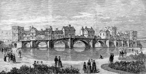 Engraving showing the 'Old Tyne Bridge' at the Royal Jubilee Exhibition, Newcastle-on-Tyne, 1887