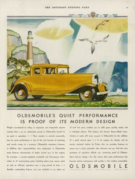 'Oldsmobile's quiet performance is proof of its modern design' - including counter-weighted crankshaft and full pressure lubrication to all reciprocating parts