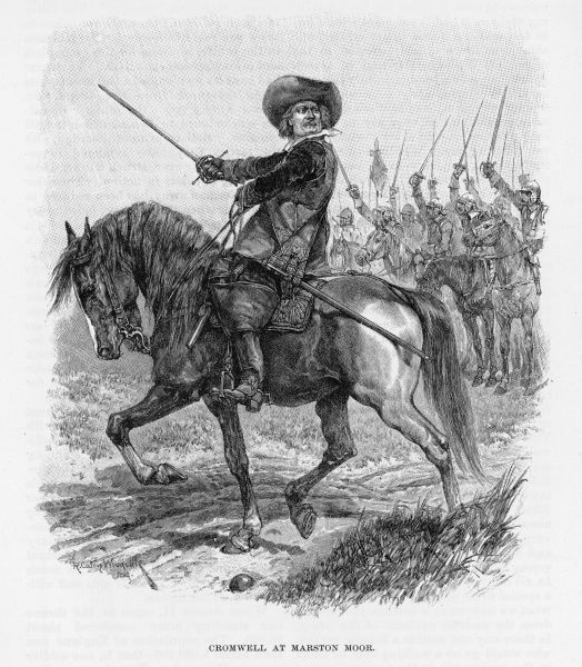 OLIVER CROMWELL soldier, statesman, The Protector, on horseback at Marston Moor, 2 July 1644