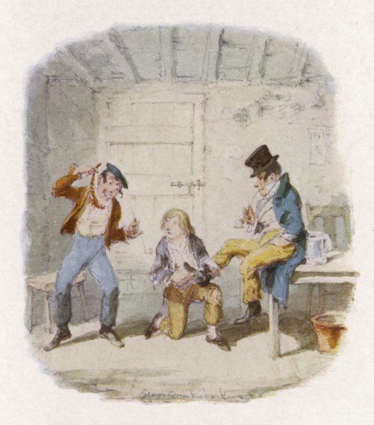 The Artful Dodger and an accomplice teach Oliver how to pickpocket