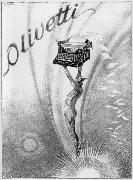 An Olivetti typewriter is held aloft by Hermes, messenger of the gods and patron of the telecommunications industry
