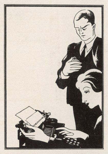 The boss consults his watch - he's in a hurry for this report - but don't worry, signor, thanks to the Olivetti you gave her, your secretary will have it done in time