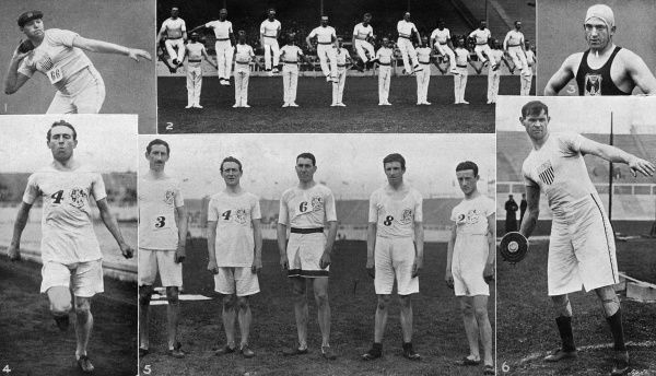 Scenes from the 1908 Olympic Games, held at Shepherd's Bush stadium in London