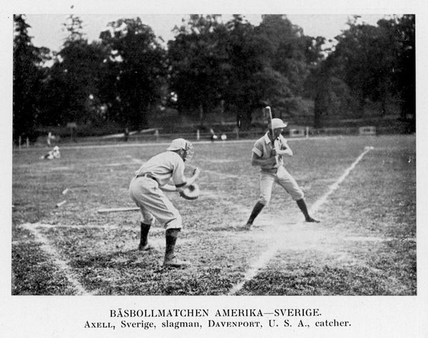 Baseball match between USA and Sweden; pictured are Davenport (catcher) and Axell (batsman)