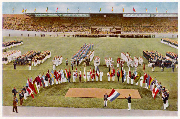 Dutch footballer Harry Denis swears the Olympic Oath