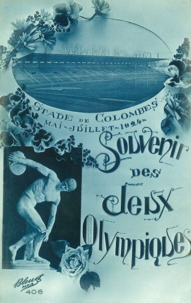 A souvenir card from the Olympic Games in Paris, France in 1924 Date: 1924