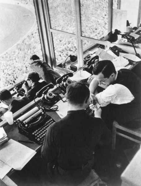 The Press Box at the Berlin Olympics, 1936