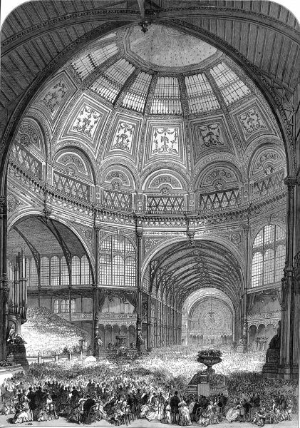 Engraving showing the interior of the Alexandra Palace, with its great dome, during the opening of the palace in 1873