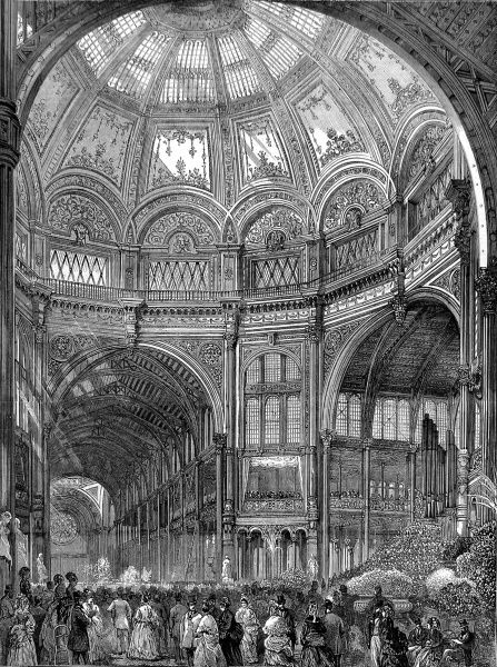Engraving showing the interior of the Alexandra Palace, with the large dome, during its official opening in 1873