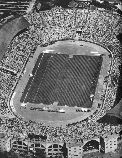 An aerial view of Wembley Stadium during the Opening Ceremony of the 1948 London Olympic Games. Date: 1948