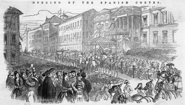 The opening of the Cortes, Madrid, at a time of political change in Spain