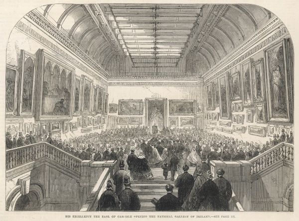 His Excellency the Earl of Carlisle, Lord Lieutenant of Ireland, opening the National Gallery of Ireland on 30 January 1864
