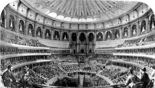 Engraving showing the interior of the Royal Albert Hall, London, during its Grand Opening by Queen Victoria, on the 29th March 1871