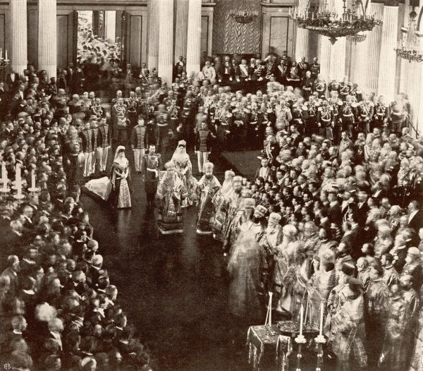 The opening of the Russian Assembly (Duma) by Tsar Nicholas II in the Winter Palace