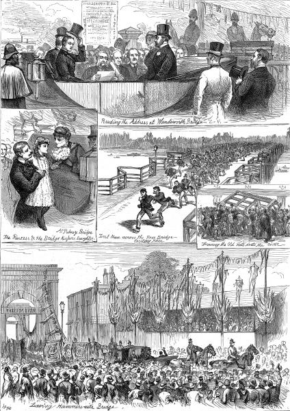 Engraving showing 5 scenes from the opening of Wandsworth, Putney and Hammersmith bridges, by the Prince and Princess of Wales, to become toll-free bridges, 1880