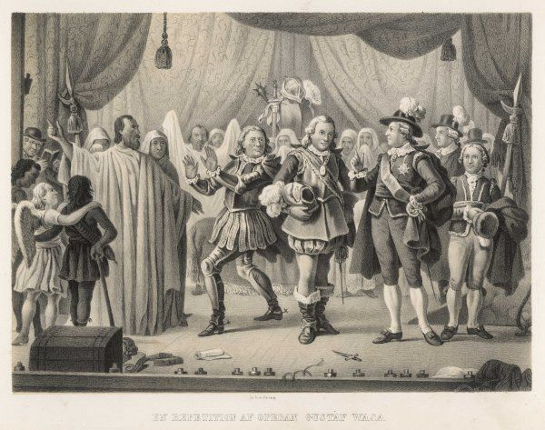 Gustav III of Sweden attends a rehearsal of the opera 'Gustaf Wasa' : three years later he will be assassinated at a bal masque in the Opera House