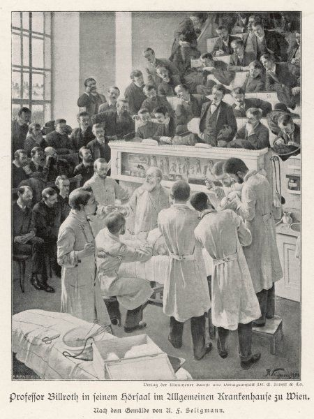 At the Allgemeinen Krankenhause, Vienna, professor Billroth performs an operation watched by students and colleagues